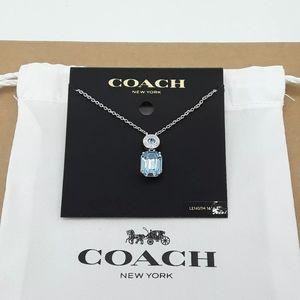"COACH Emerald Cut Silver / Aqua Necklace 16""-18"""